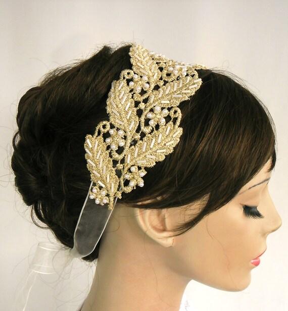 Roman Style Gold Lace Bridal Headband. Handmade. Unique Design