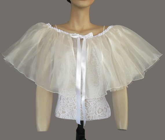 Fairy Bridal Cape in Retro Style Made with Snow White Ruffled Organza. It's Two Layered. OOAK, Handmade