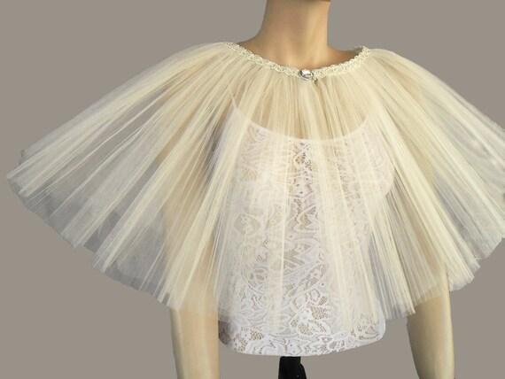 Tutu bridal capelet - ivory tulle ruffled shrug, retro style, two layers, OOAK, handmade