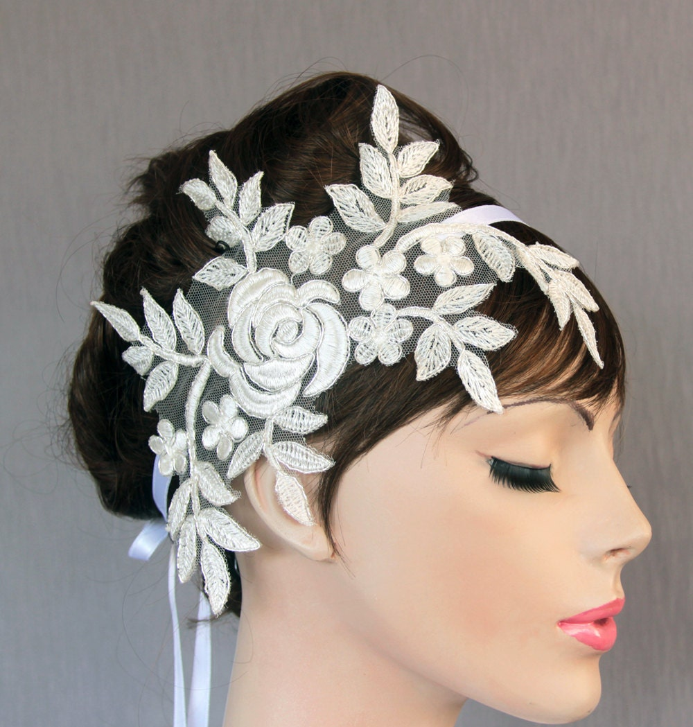 Bride Head Piece: Lace Bridal Head Piece Weddings Fascinator Headband In