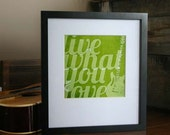 Inspirational Poster - Live What You Love - Rustic Guitar Digital Art Print - Green Teen
