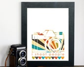 Retro Style I Shoot People - Photography Hobby Modern Art Print - Colorful - Orange/Green/Brown/Teal - 8x10 Gifts Under 25