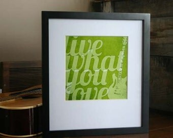 Inspirational Poster - Live What You Love - Rustic Guitar Digital Art Print - Green Teen