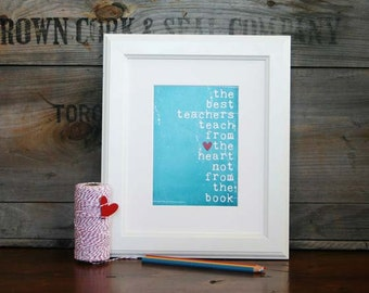 Digital Art Print Teacher Gift - The Best Teachers Original print in distressed Turquoise/Teal - Back to School Print