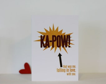 KAPOW -Superhero Love Valentines Day Card - Bold Modern Original Greeting Card Love - Red Yellow Black