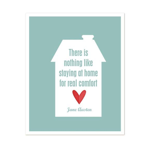 There Is Nothing Like Home Quotes: Items Similar To Jane Austen Quote Modern Typography Art