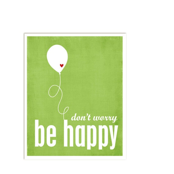 Don't Worry, Be Happy - Leaf Green Print Red Heart Balloon - 8x10 Gifts Under 25