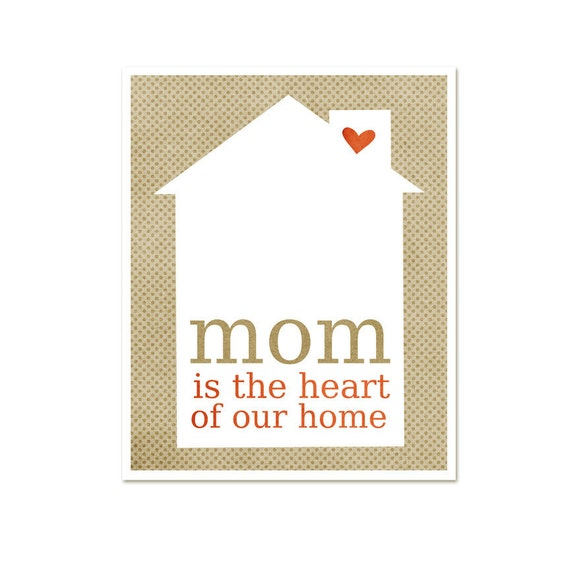 Mothers Day Typography Art Poster - Mom is the Heart of Our Home - Latte Beige Dotted Art Print