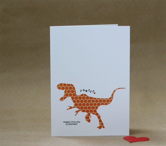 Valentines Day Dinosaur Greeting Card Rawrrr Means I Love You in Dinosaur Orange Hexagon T-Rex Kids