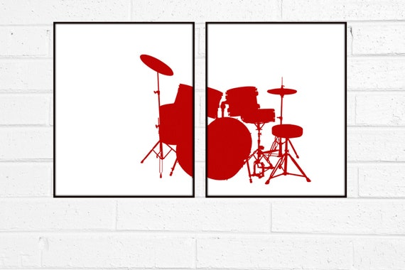 Music Poster Red Drum Art - Music Instrument Drum - Modern Graphic Digital Art Poster Print Teen Bedroom