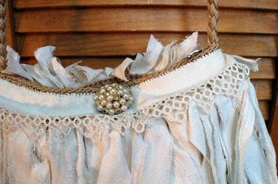 Handmade Vintage Tattered Purse Upcycled Gypsy Boho Bohemian Wedding Bridal Shabby Chic Cottage Chic Eco Friendly Romantic Funky