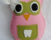 Owl Tooth Fairy Pillow-pink, green and white with flower