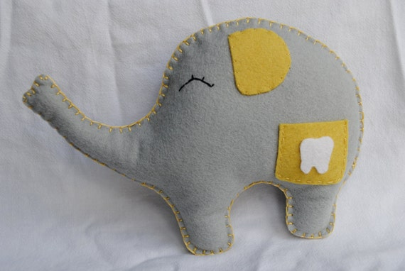 Tooth Fairy  Pillow-----Sweet Lil' Ellie Elephant, yellow and gray