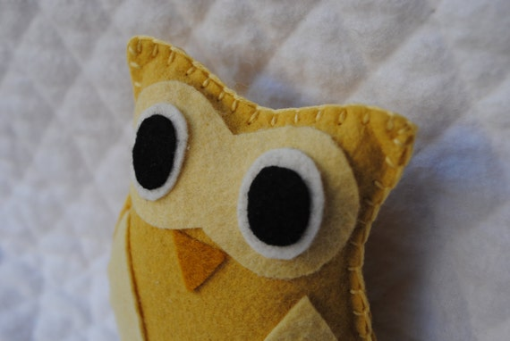 Mini Owl--pocket pal, yellow,mustard stocking stuffer--READY TO SHIP