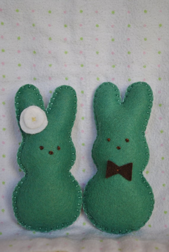 Little bunny couple in love..Sweet little hand sewn bunnny couple in Geranium green with chocolate brown stitched eyes--peeps,bunny,Easter