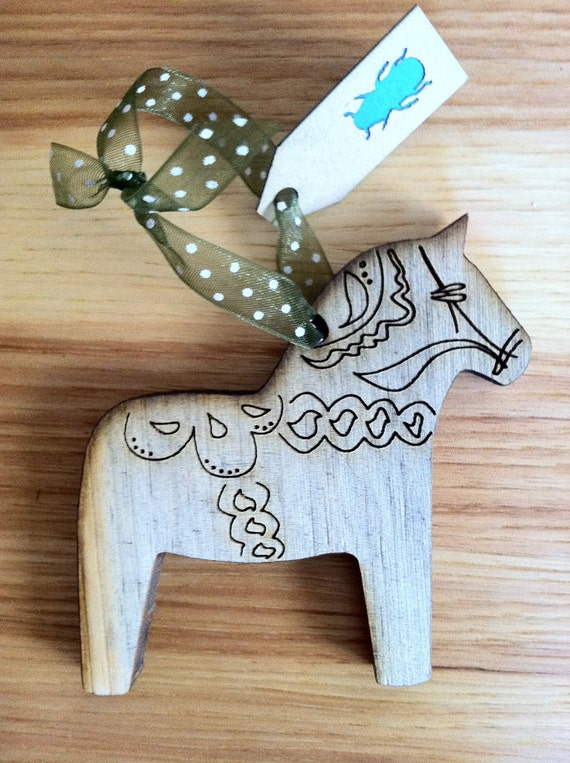 Swedish Dala Horse Christmas Ornament  (Colorado Beetle Kill Pine Wood)