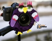 Shutter Buddies Paul Purple OWL with SQUEAKER camera lens shutter buddy- Ready to ship