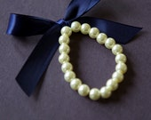 Little Girl Pearl Bracelet with ribbon flower girls, baptism or toddler Customize pearl and ribbon colors