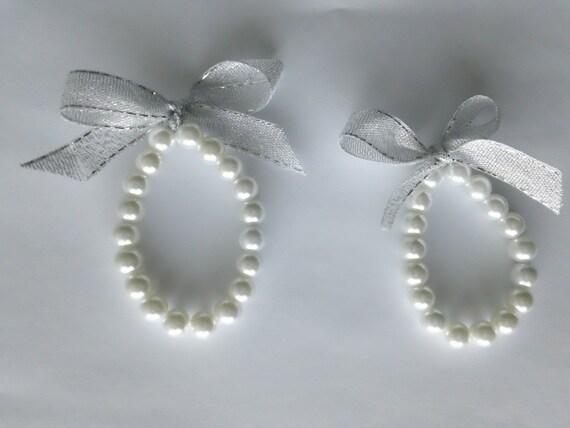 White Pearl Bracelet for Flower Girl Jewelry- Set of 2 Custom, Flower Girl Bracelet, Flower Girl Gift, Ivory Pearl Bracelet