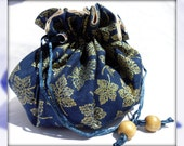 Navy Blue and Gold Maple Leaf Jewelry Pouch