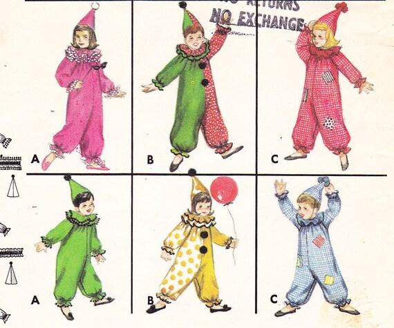 "Vintage 60s Clown Costume Pattern - Size 2 - Breast 21"""