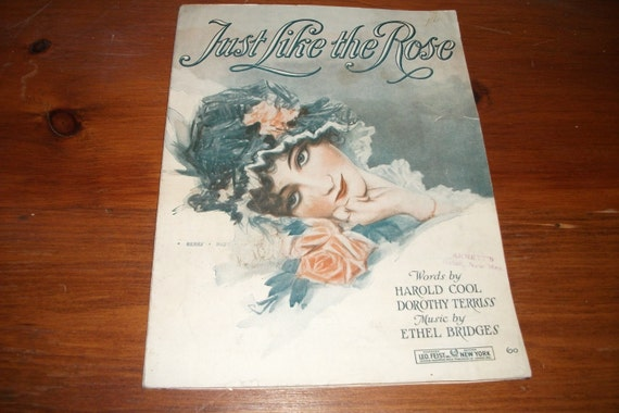 Vintage Just like the Rose Music Sheet 1919