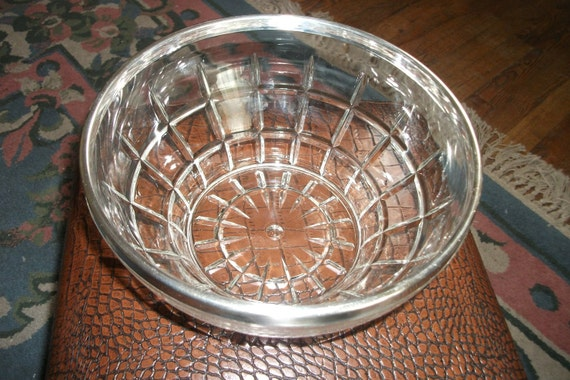 Vintage Silver rimmed Serving Bowl