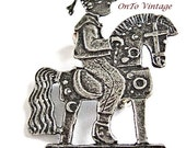 Vintage Boy with Wheeled HobbyHorse, Pewter Brooch/Pin