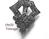 Vintage Gunmetal Marcasite, Triangle Shaped, Brooch