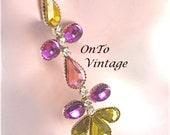 Rhinestone Teardrop Earrings Purple, Gold. Pink Dangle Pierced 1970's-80s