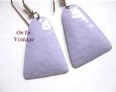Lavender Enamel Triangle Dangle Pierced Earrings