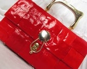 RESERVE FOR PACH25 Bright Red Plastic Woven Vintage Handbag
