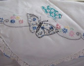 RESERVED for Colleen Embroidered handmade Butterfly applique tablecloth