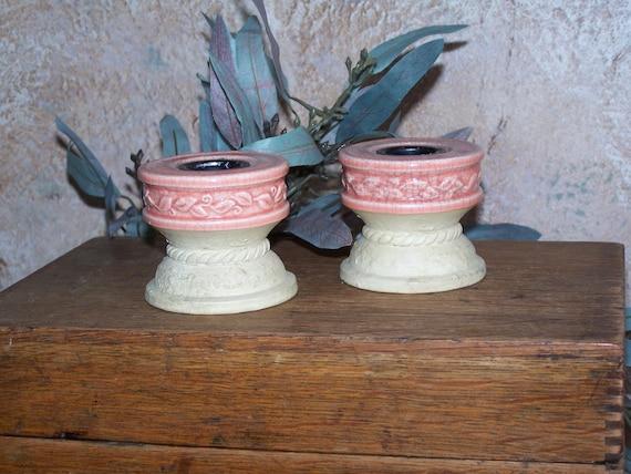 Stoneware Shabby Chic Candleholders