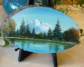 Vintage Oil Painting on wood, Mountain Landscape with lake