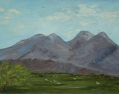 Vintage Painting West Texas Landscape Original Oil Painting Mountains with Sheep