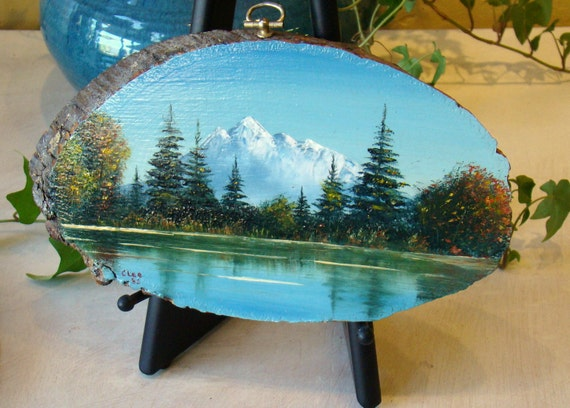 Vintage Oil Painting On Wood Mountain Landscape With Lake
