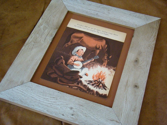 Repurposed Children's Book Illustration, 1950's Cowboy playing a banjo at the campfire