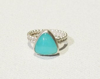 Peruvian Opal Pinky Ring One-of-a-Kind Spring Blue Green