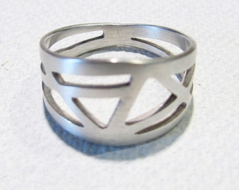 Hand Cut Geometric Ring Sterling Silver ONE OF A KIND