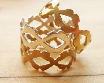 Geometric Kisses Lips Signature Ring Hand Cut Brass