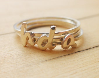 Peresonalized Jewelry - Monogram Letter initial stacking rings sterling silver font - A 1000 Kisses