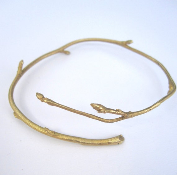 Recycled Twig Branch Bracelet Bud Brass