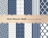 Lattice in Navy Blue. 12x12. Modern Digital Printable Paper Pack for cards, scrapbooking or commercial.