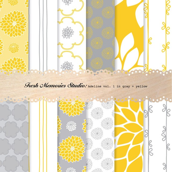Adeline Vol. 1 in Gray and Yellow. 12x12. Modern Digital Printable Paper Pack.