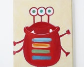 Red Monster- Made to order- Original acrylic Painting on Canvas - Wall Decoration - Wall Hanging - Baby Shower - Gift