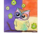 Sweet Colorful Baby Owl - Custom Canvas Painting - Wall Hanging - Baby Shower - Baby Girl Nursery Painting