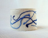 Felt cuff Hand embroidered bracelet white blue abstract