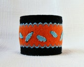Handmade felt cuff bracelet black orange blue OOAK - LenteJulcsi