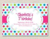Rainbow Polka Dot - Girl Birthday Invitation - You Print
